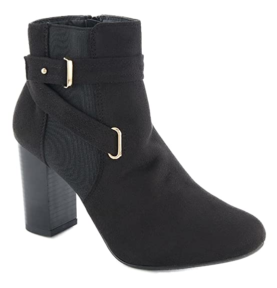 Women's Elastic Gore Slip On Chunky Heel Ankle Booties
