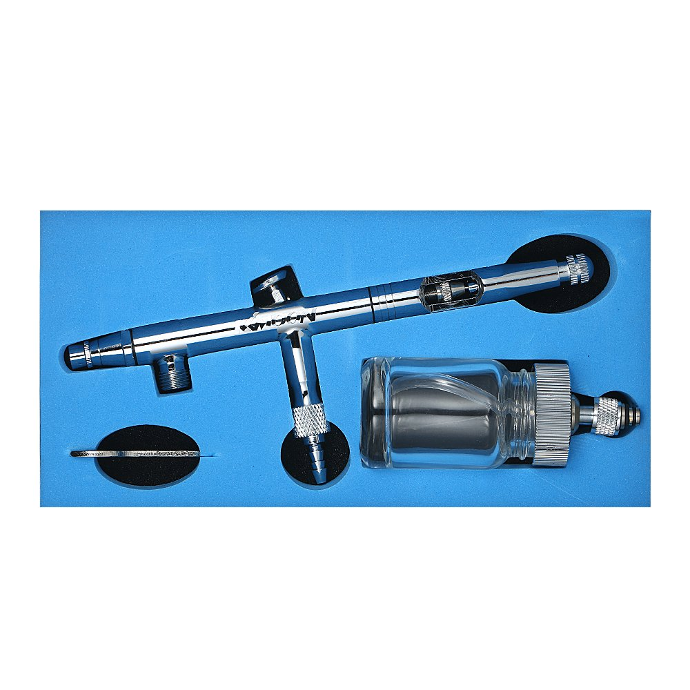 KKmoon Dual-Action Airbrush Air Brush Painting Kit 0.5mm Nozzle Paint Spray Gun with 25cc Glass Jar Spanner Eyedropper for Tattoo Model Craft Nail Body Painting