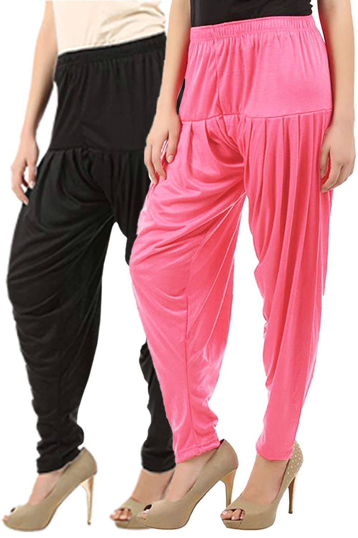 Buy That Trendz Women's Cotton Viscose Lycra Dhoti Patiyala Salwar Harem Bottoms Pants Black Rose Combo Pack of 2 (B07H6MYL22) Amazon Price History, Amazon Price Tracker
