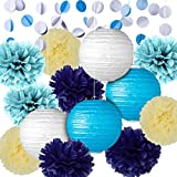 Party Decoration Kit Blue Tissue Paper Pom Poms Flowers Papers Lanterns Circle Garland Birthday Wedding Christening Frozen Theme Party Decorations for Adults Boys Girls By Fadesun