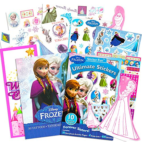 Disney Frozen Stickers and Tattoos Party Favor Pack (400 Stickers, 50 Temporary Tattoos, Door Hanger) ()