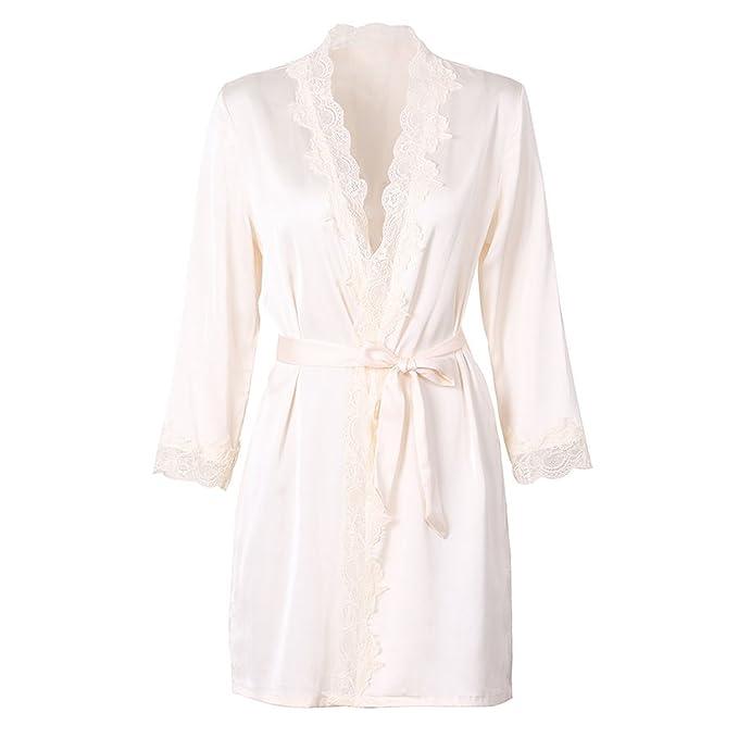 Pragmaticv Encaje de Retazos de Seda de imitación Batas Mujeres Ropa de Dormir túnica de Punto con Cinturones Negligees 7 Colores Inicio Ropa: Amazon.es: ...