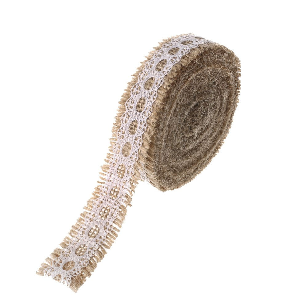 Ling's moment Burlap Ribbon Roll with White Lace Trims for Jars & Gift Décor, 1 x 5 Yards. 180 Inches Ling's moment BCACS17957