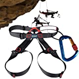 Climbing Harness + Locking Carabiner, AYAMAYA Half Body Harness Seat Belts & Self Screwgate Twist Lock Caribeaner for Rope Rock Climbing Mountain Fire Rescue Caving Rappelling Equip Tree Work Arborist