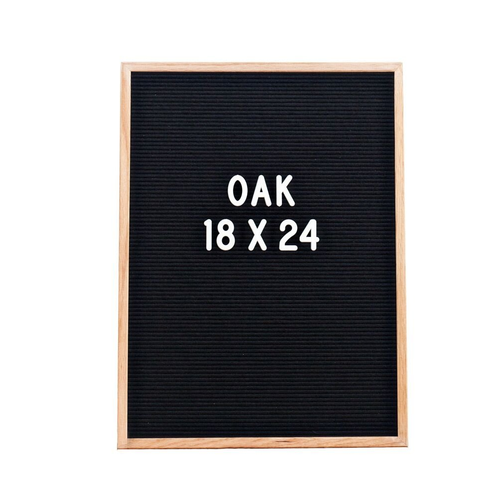 Vintage Felt Changeable Letter Board: 18 by 24 Inches Oak Wood Frame with 145 2 Inch Helvetica White Letters, Numbers and Punctuation, Mounting Hook, Free Frosted Letter Bag