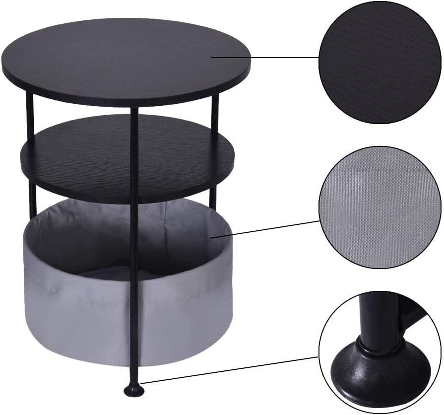 2-Tier//3-Tier Night Stand Bedroom Desk Round Sturdy Wood Bedside Notebook Stand Living Room Coffee Side Table with Fabric Storage 3-Tier Endtable, Black Auwish Sofa End Table