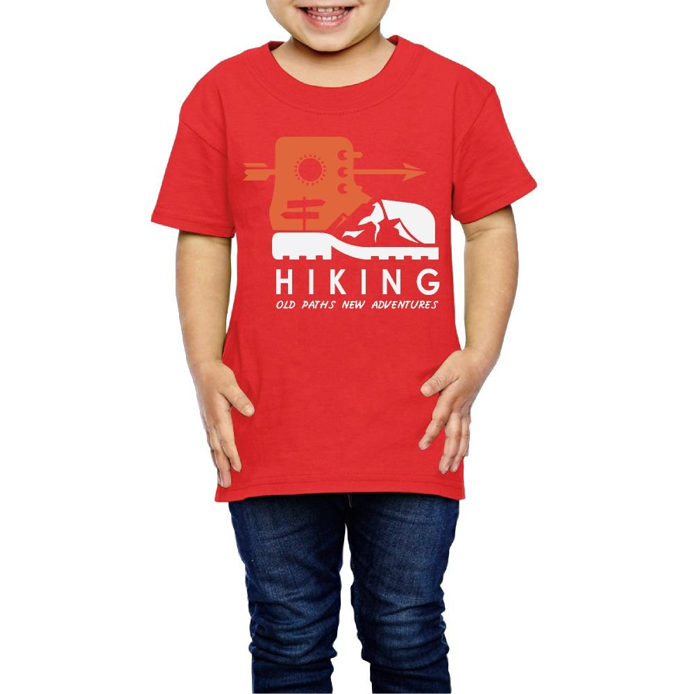 Yishuo Kids' Hiking Old Paths New Adventure Cool Travel T Shirt Short Sleeve Red 4 Toddler