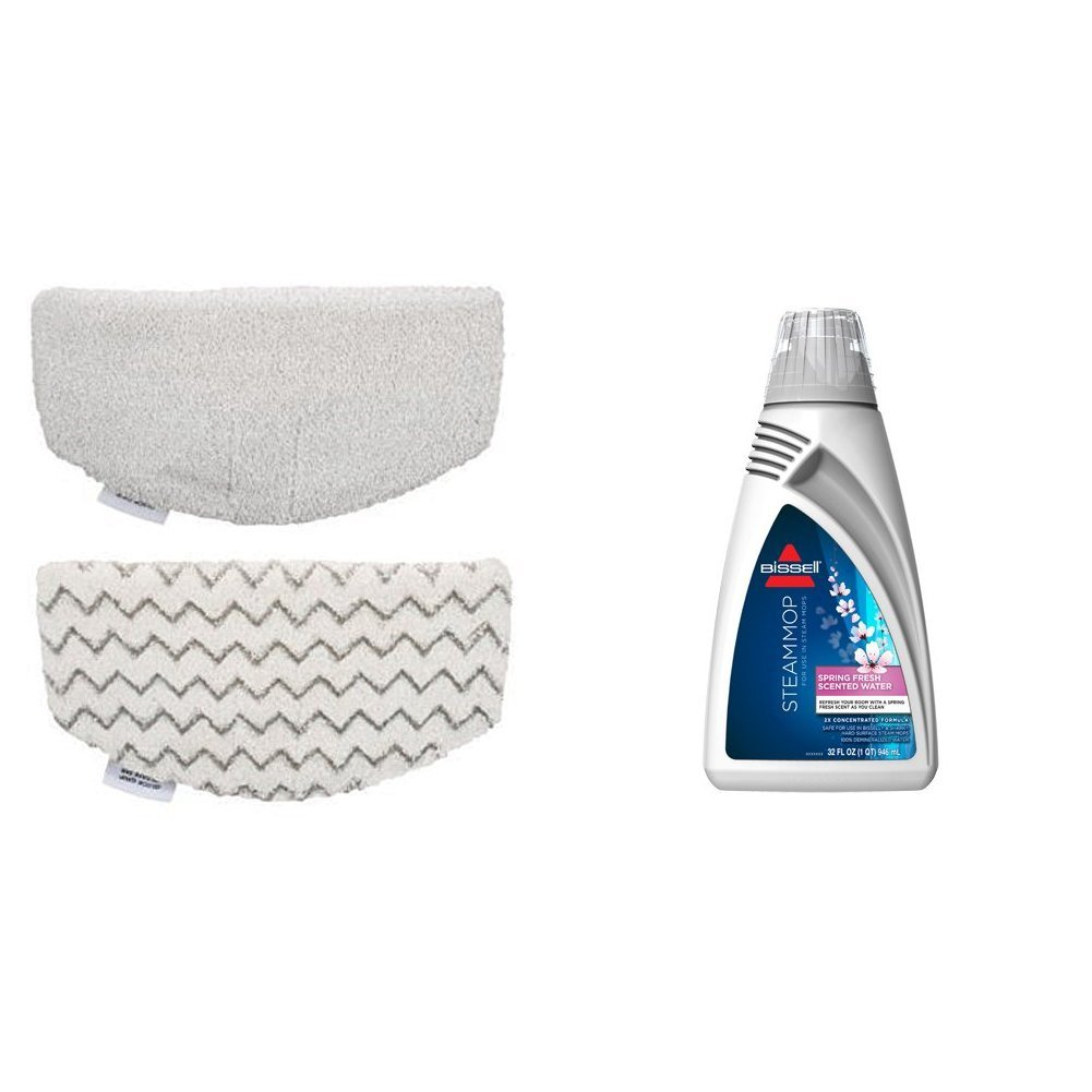 BISSELL PowerFresh Steam Mop Pads (2 pk) with Fragrance discs (4 ct), 5938 with Spring Breeze Demineralized Water 32 oz, 1394 by Bissell
