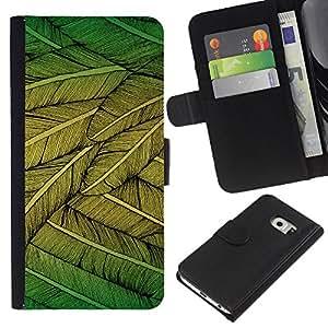 All Phone Most Case / Oferta Especial Cáscara Funda de cuero Monedero Cubierta de proteccion Caso / Wallet Case for Samsung Galaxy S6 EDGE // Feathers Green Nature Art Bird Flying Tree