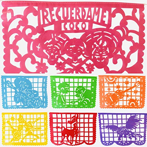 TexMex Fun Stuff Coco Inspired Papel Picado Banner- Rainbow Plastic Large (16 Feet) Mexican Garland]()
