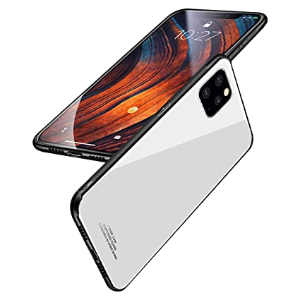 BeautyWill Case for iPhone 11 Pro Max Tempered Glass Case Scratch,Resistant  Pure Color Soft TPU Bumper Shockproof Cover with Lanyard Hole White