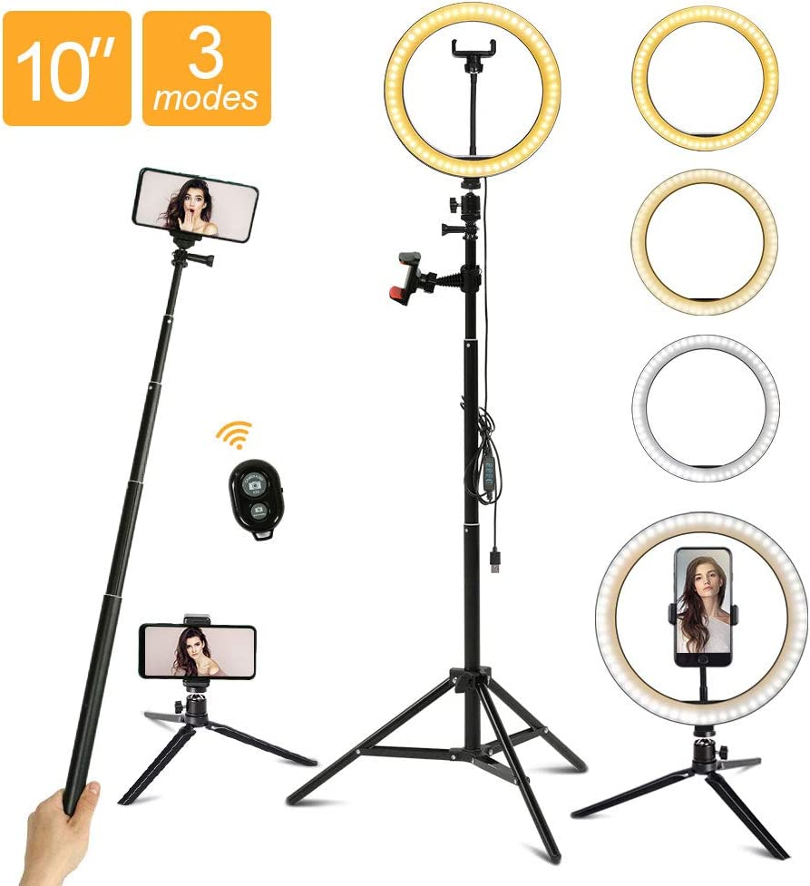 """10"""" LED Ring Light with Tripod Stand/Phone Holder/Remote Control, Maxztill Dimmable Halo Light for Live Stream/YouTube Video/Selfie Photography/Makeup, Compatible with iPhone/Android"""
