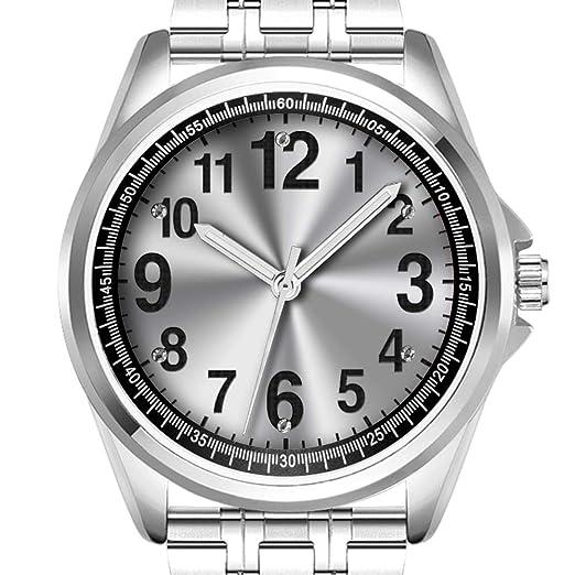 Reloj de Pulsera Personalizado para Hombre a la Moda Resistente al Agua Diamond_470.Relojes fáciles de Leer para Personas Mayores con números Grandes: ...