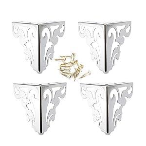 4Pcs Metal Furniture Sofa Legs European Flower Pattern Cabinet Feet Stainless Steel Furniture Hardware Accessories 2 Size (12CM, Silver)