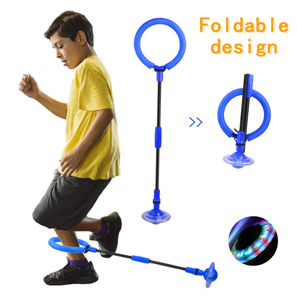 QMOEH Skip Ball, Foldable Ankle Skipit Toy with Backpack, Colorful Flash Skip It Toy for Fitness by QMOEH