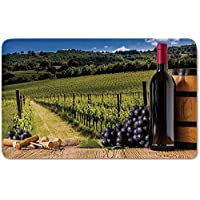 Memory Foam Bath Mat,Winery Decor,Red Wine Bottles with Grapes on Timber Board and Tuscany Italian Terrace SceneryPlush Wanderlust Bathroom Decor Mat Rug Carpet with Anti-Slip Backing,Green Blue Brow
