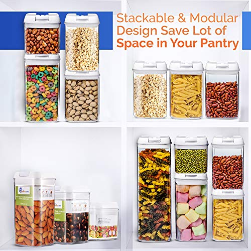Airtight Food Storage Container Sets, Pantry Organization, Kitchen Organization, Pantry Containers, Larger Sizes with Interchangeable Lids,Premium Quality with Leak Proof Design -BPA FREE(5-Piece Set)