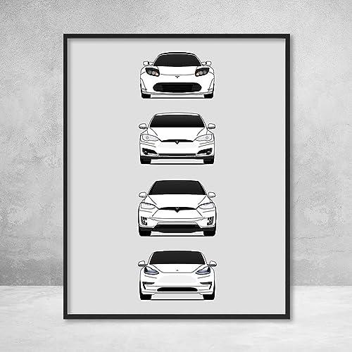 Amazon Com Tesla Car Poster Print Wall Art Of The History And