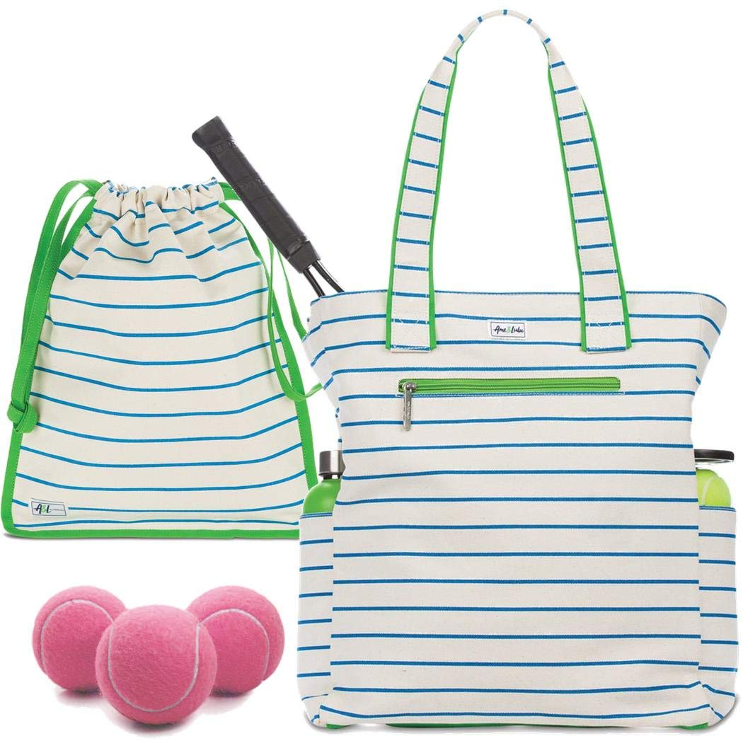 Ame & Lulu Emerson Large Tennis Tote Bundled with a Matching Drawstring Shoe Bag and a Can of Pink Tennis Balls (Quinn)