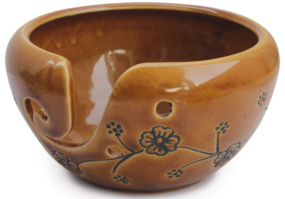abhandicrafts - Deals of The Day - Ceramic Brown Yarn Bowl for Knitting, Crochet for Moms - Beautiful Gift on All Occasions. A for Moms and Grandmothers 6.5X4 Inch by abhandicrafts (Image #3)