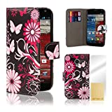 32nd® Design book wallet PU leather case cover for Motorola Moto X Play (2015 edition) + screen protector and cleaning cloth - Gerbera