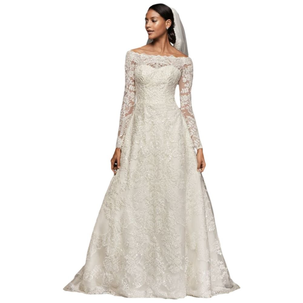 Off The Shoulder Lace A Line Wedding Dress Style Cwg765 At Amazon