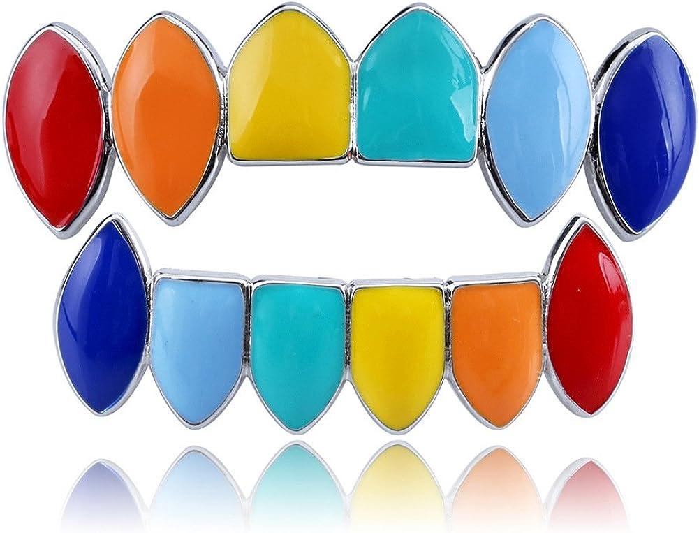 decorazione denti hip hop Iced out Gold Fang Grillz superiore e inferiore denti festa Rainbow grill set