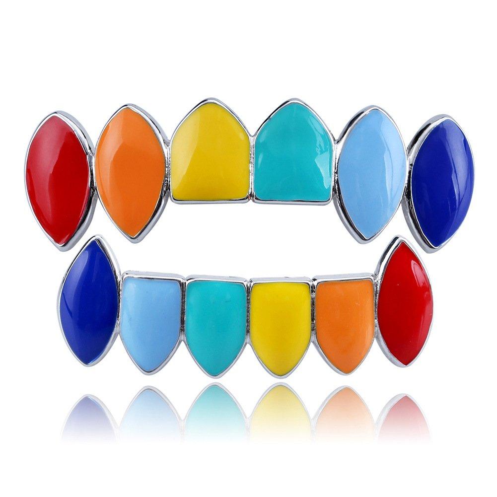Multicolore dents Grill Définit hip-hop dents Grillz caches (Haut Plus Bas de Lot de grilles de dents) 1Lot de cadeaux pour homme/femme Ruimin Cuivre Cuivre