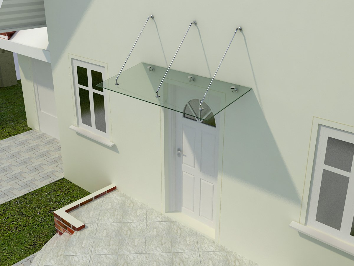 Glasart:Milchglas Gr/ö/ße:175 x 90 cm Glasvordach Zugstreben 90 cm Tiefe Haust/ür/überdachung aus Sicherheitsglas f/ür einen modernen und gesch/ützten Eingangsbereich