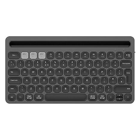 Elkeyko Teclado inalámbrico Chocolate Ultrafino Keycap Conexión silenciosa Tres Dispositivos cargables para computadora portátil/iPad