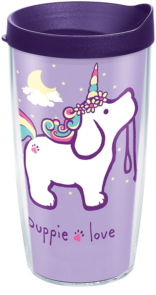 Tervis 1288773 Puppie Love - Unicorn Puppy Tumbler with Wrap and Royal Purple Lid 16oz, Clear