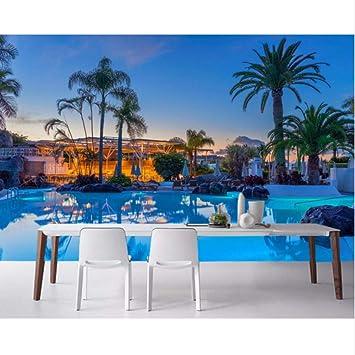 Pbldb Resorts De España Baño De Natación Palmeras Papel Tapiz Sala De Estar Sofá Dormitorio Tv Sofá Pared Restaurante Mural Personalizado-200X140Cm: Amazon.es: Bricolaje y herramientas