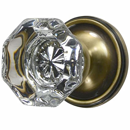 Charmant Providence Crystal Octagon Door Knob Set With Victorian Plate Rosettes In  Antique Brass (Double Sided