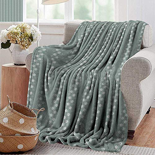PearlRolan Velvet Touch Ultra Plush,Spring,Old Fashion Flowers with Rococo Influences Essence Lace Pattern Print,Pale Sage Green White,300GSM,Super Soft and Warm,Durable Throw Blanket 70