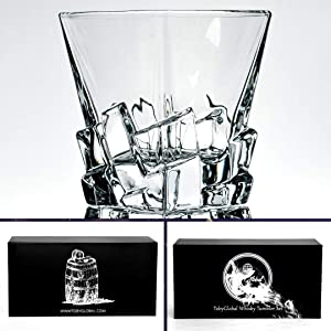 Whiskey Glasses, Tumblers, LowBall Glass-11 oz set of 2. Hand Blown unleaded Crystal Iceberg style Glassware in Luxury Box. Bourbon, Scotch, Old Fashioned Cocktails By TobyGlobal