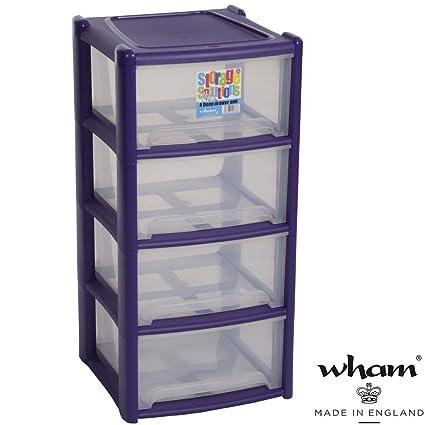 Plástico Estantería con 4 cajas, clasificador de polipropileno, color violeta, 39 x 85