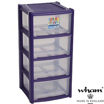 Plástico Estantería con 4 cajas, clasificador de polipropileno, color violeta, 39 x 85 cm || cajón estante cajones caja plástico Estante 4 cajas apilables ...