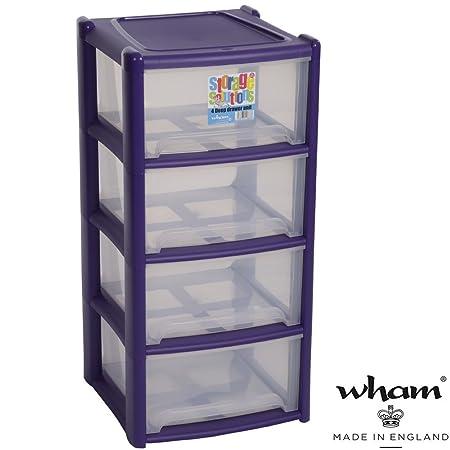 Kunststoffregal Mit 4 Boxen Sortierbox Aus Polypropylen Violett