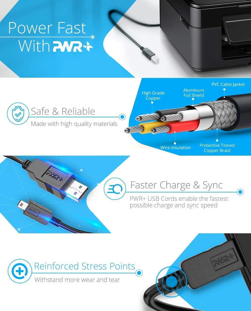 Pwr UL Listed Extra Largo 3.6 Metros Cable USB 2.0 Tipo A a Cable de Tipo B Alta Velocidad para Interfaz de Audio, Teclado midi, Micrófono USB, Mezclador, ...
