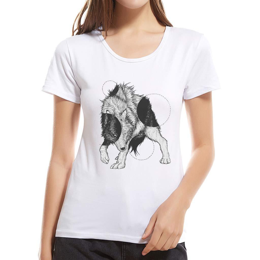 EOWEO Mother's Day, Ladies Girls Fashion Cartoon Animal T-Shirt Short Sleeve Cotton T-Shirt Top(Medium,White)