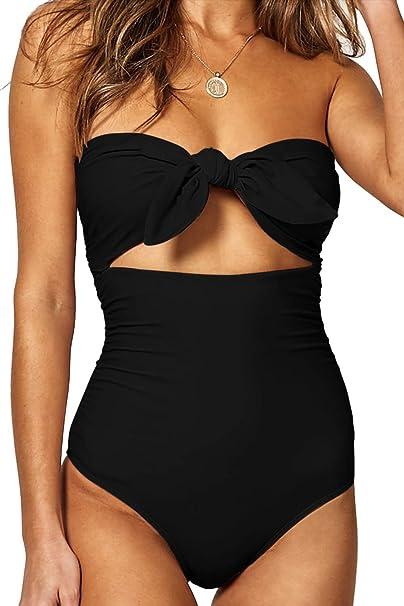 1208144de22 QINSEN Woman s One Piece Swimwear Sexy Tie Knot Front Cutout High Waist Bikini  Swimsuit Black S