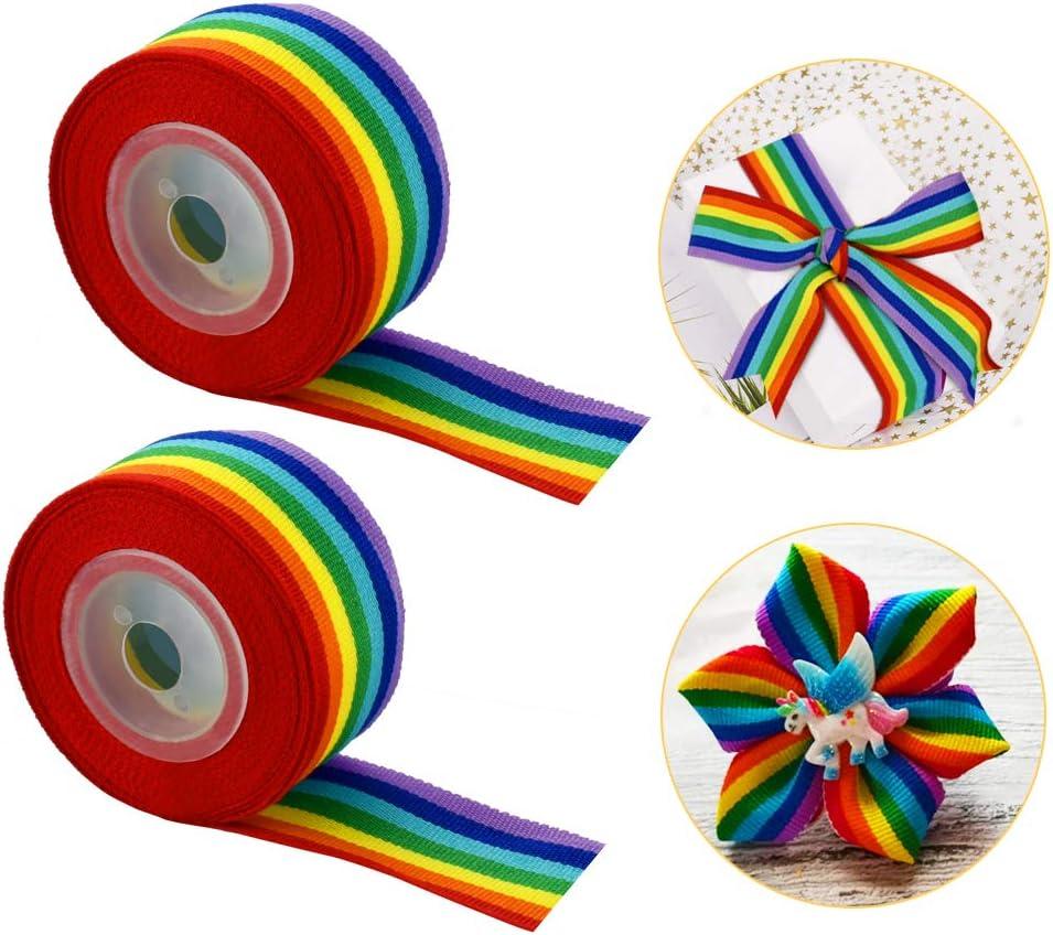 FAVENGO 2 Rollos Cinta de Arcoiris 5m x 2.5cm de Ancha Cinta Grosgrain Ancha Rainbow Pride Ribbon Cinta de Tela Arcoiris Cinta Colores Arcoiris Cinta Bandera para Manualidades Regalo Fiesta Boda: Amazon.es: