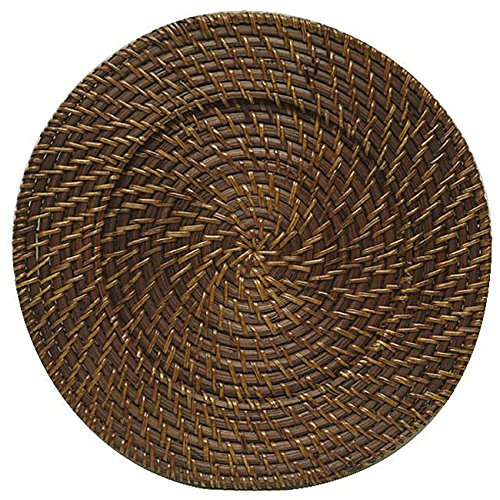 ChargeIt! By Jay Round Rattan Brick Brown 13-inch Charger (Set of 4) (Rattan Charger Plate)