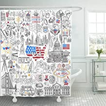 MAYTEC Shower Curtain Usa Outline United States of America Popular Symbols and Landmarks Fast Food Jazz Skyscrapers Map Waterproof Polyester Fabric 72 x 72 inches Set with Hooks