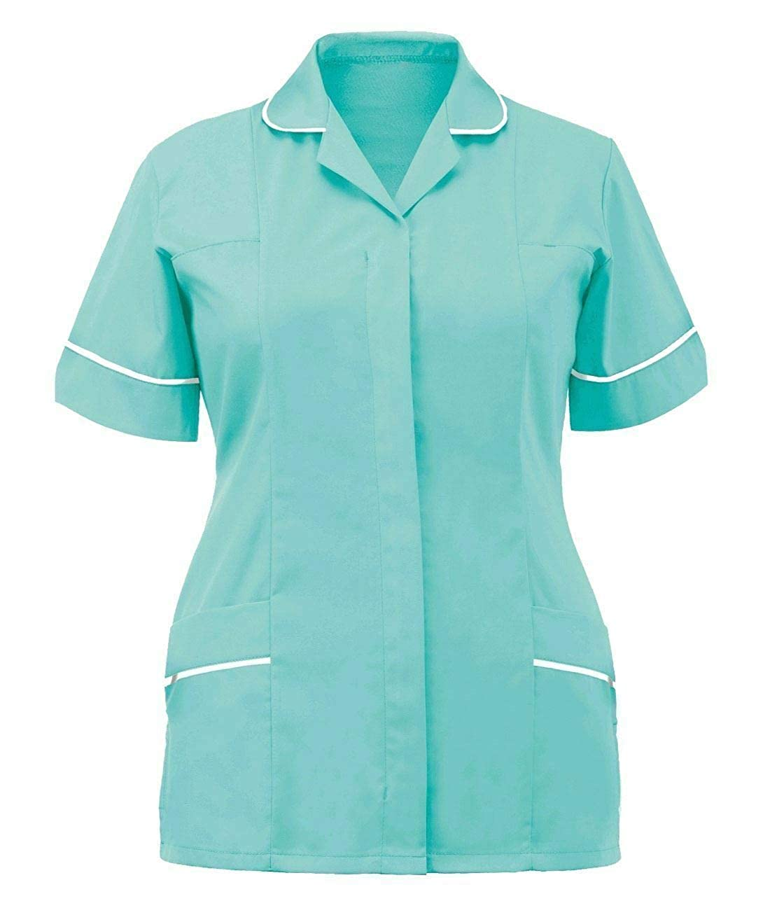 Womens Hospital Clinic Nurse Collared Tunic Ladies Healthcare Work Uniform Top