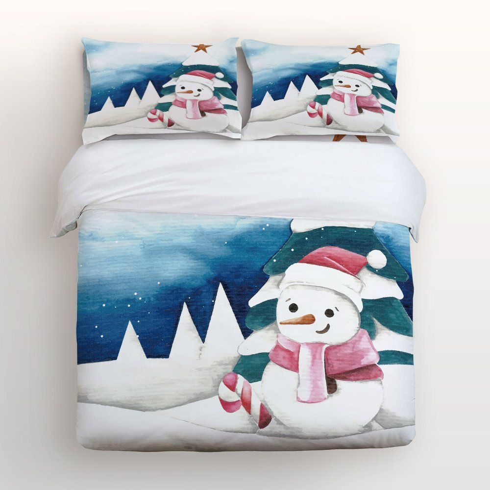 Libaoge 4 Piece Bed Sheets Set, Hand Painted Winter Snowman Merry Christmas, 1 Flat Sheet 1 Duvet Cover and 2 Pillow Cases