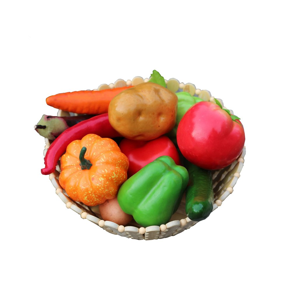 DinQ 12 Pieces High Simulation Vegetable Fruit Basket Package Artificial Vegetable Fruit Model Photography Props Home Decoration Crafts