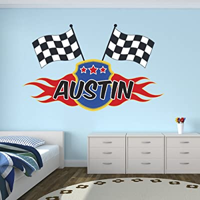 "Lovely Decals World LLC Custom Racing Flags Name Wall Decal for Boys Race Nursery Baby Room Mural Art Decor Vinyl Sticker LD06 (16"" W x 10"" H): Home & Kitchen"