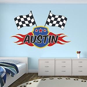 "Custom Racing Flags Name Wall Decal for Boys Race Nursery Baby Room Mural Art Decor Vinyl Sticker LD06 (38""W x 24""H)"