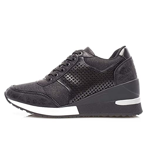 SneakersCasual Compensee Plateforme Pour Anjoufemme Mode Chaussure BasketsTalon Femmes Respirants Confortables Or Lacets De Et 6 CmCouleur wTPXOkZiu
